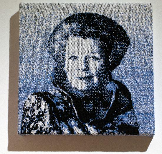 gebreid portret, Leslie Eisinger, Beeld van Beatrix, Prinses Beatrix, Portret