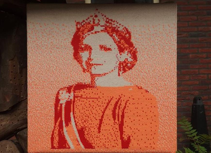 Leslie Eisinger, gebreid portret, koningin máxima